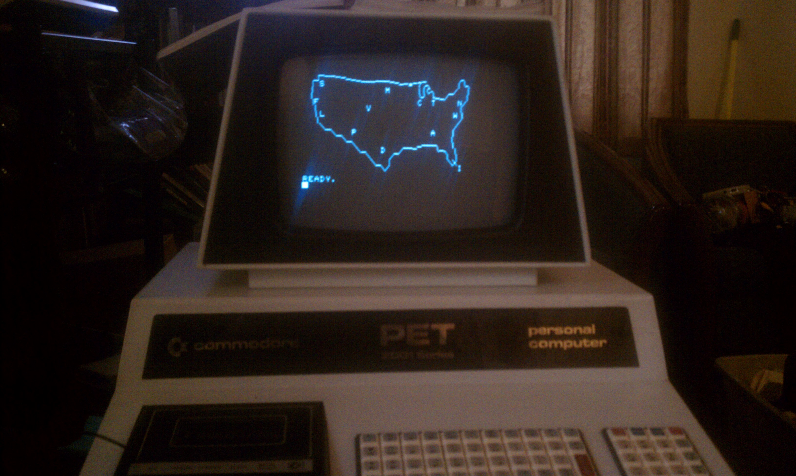 1977 Commodore PET 2001 with 8k RAM with my Wargames style map ...